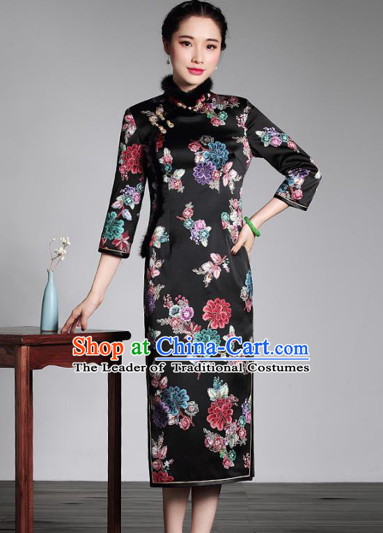 Top Grade Asian Republic of China Plated Buttons Black Silk Printing Cheongsam, Traditional Chinese Tang Suit Qipao Dress for Women