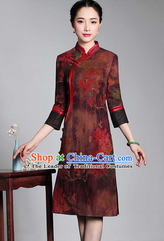 Top Grade Asian Republic of China Plated Buttons Watered Gauze Cheongsam, Traditional Chinese Tang Suit Qipao Dress for Women