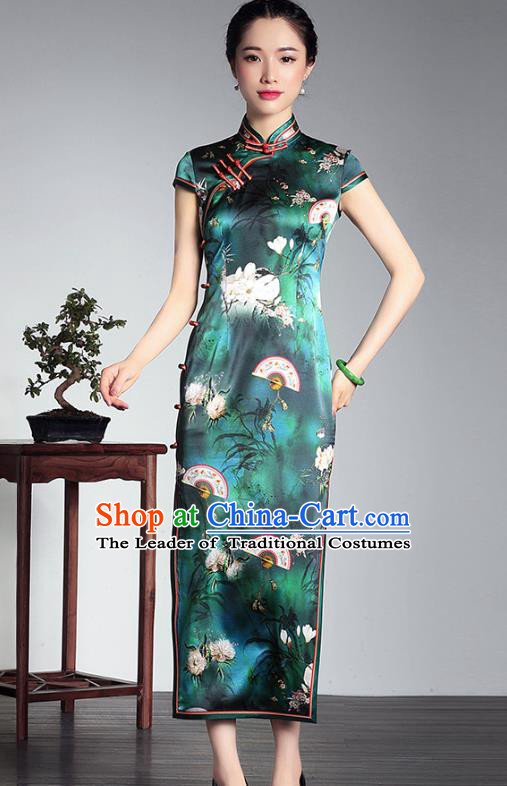 Top Grade Asian Republic of China Plated Buttons Green Silk Cheongsam, Traditional Chinese Tang Suit Printing Qipao Dress for Women