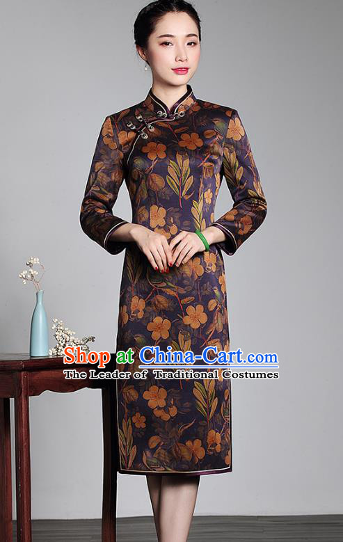 Top Grade Asian Republic of China Plated Buttons Silk Cheongsam Robe, Traditional Chinese Tang Suit Printing Qipao Dress for Women