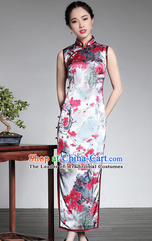 Top Grade Asian Republic of China Plated Buttons Silk Cheongsam, Traditional Chinese Tang Suit Printing Wintersweet Qipao Dress for Women