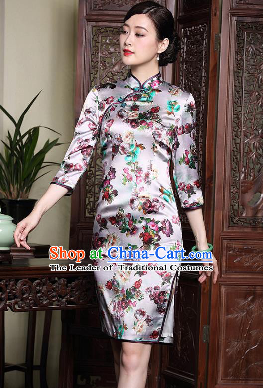 Traditional Ancient Chinese Young Lady Retro Stand Collar Printing Cheongsam, Asian Republic of China Qipao Tang Suit Silk Dress for Women