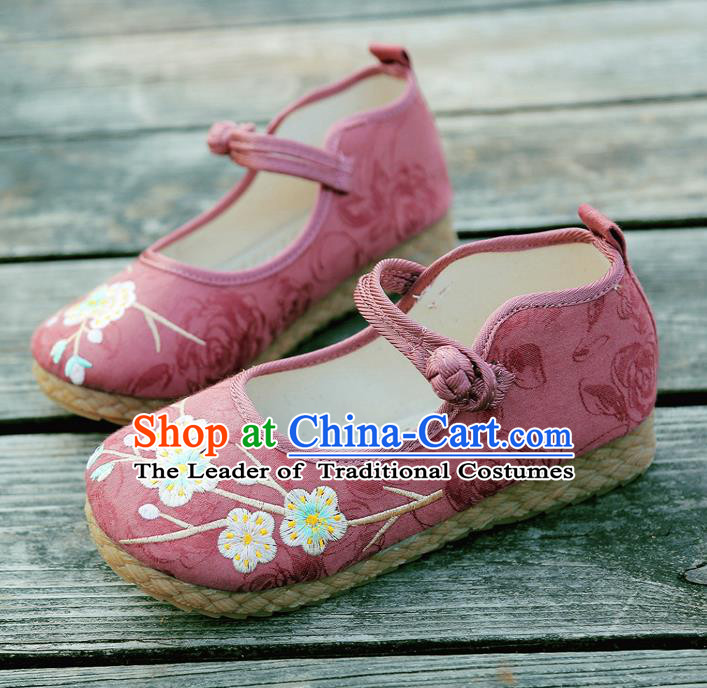 Traditional Chinese National Embroidered Shoes Pink Linen Shoes, China Handmade Hanfu Embroidery Wintersweet Flowers Shoes for Kids
