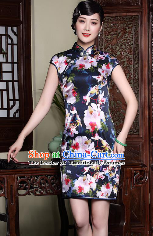 Traditional Ancient Chinese Young Lady Retro Stand Collar Printing Flowers Navy Cheongsam, Asian Republic of China Qipao Tang Suit Silk Dress for Women
