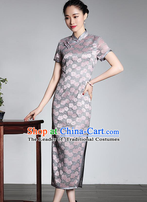 Traditional Ancient Chinese Young Lady Retro Stand Collar Pink Lace Cheongsam, Asian Republic of China Qipao Tang Suit Silk Dress for Women