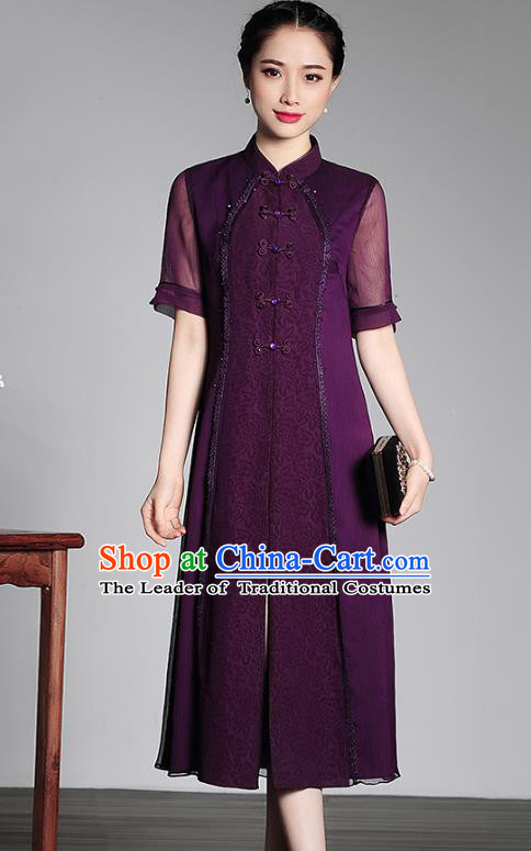 Traditional Ancient Chinese Young Lady Retro Stand Collar Cheongsam Purple Silk Dress, Asian Republic of China Qipao Tang Suit Clothing for Women