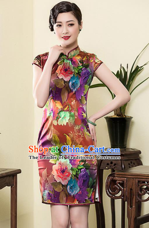 Traditional Ancient Chinese Young Lady Retro Stand Collar Cheongsam Printing Silk Dress, Asian Republic of China Qipao Tang Suit Clothing for Women