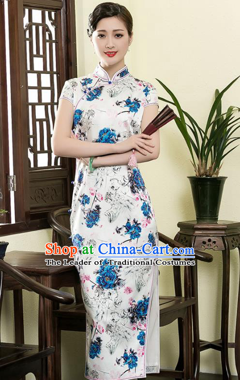 Traditional Ancient Chinese Young Lady Retro Stand Collar Cheongsam Printing Flowers Silk Dress, Asian Republic of China Qipao Tang Suit Clothing for Women