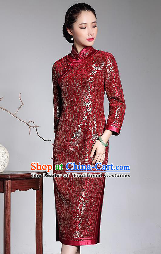 Traditional Ancient Chinese Young Lady Retro Stand Collar Long Cheongsam Red Silk Wedding Dress, Asian Republic of China Qipao Tang Suit Clothing for Women
