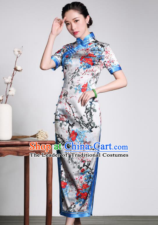 Traditional Ancient Chinese Young Lady Retro Stand Collar Printing Silk Cheongsam Dress, Asian Republic of China Qipao Tang Suit Clothing for Women