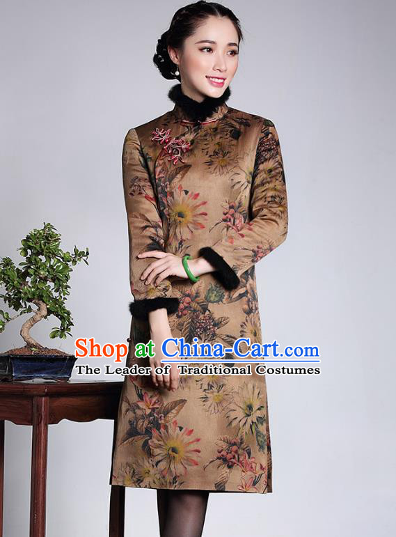 Traditional Ancient Chinese Young Lady Retro Stand Collar Printing Silk Cotton Wadded Cheongsam Dress, Asian Republic of China Qipao Tang Suit Clothing for Women