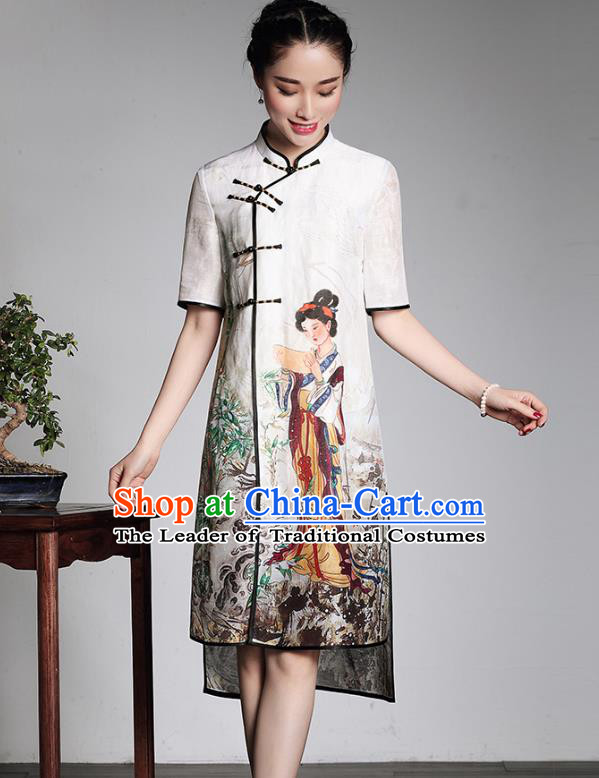 Traditional Ancient Chinese Young Lady Retro Stand Collar Printing Cheongsam Dress, Asian Republic of China Qipao Tang Suit for Women