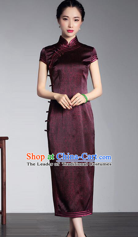 Traditional Ancient Chinese Young Lady Retro Stand Collar Purple Silk Cheongsam Dress, Asian Republic of China Qipao Tang Suit for Women