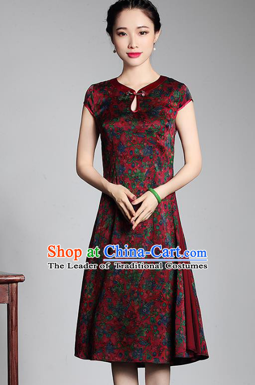 Traditional Ancient Chinese Young Lady Retro Stand Collar Silk Cheongsam Dress, Asian Republic of China Qipao Tang Suit for Women