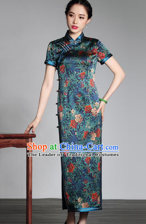 Asian Republic of China Young Lady Retro Stand Collar Green Silk Cheongsam Dress, Traditional Chinese Qipao Tang Suit Clothing for Women