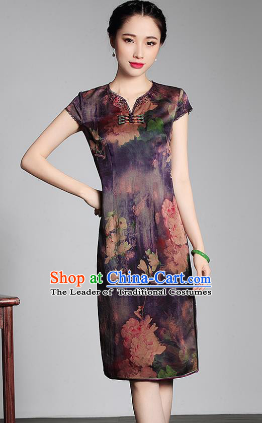 Asian Republic of China Young Lady Retro Stand Collar Purple Watered Gauze Cheongsam, Traditional Chinese Qipao Tang Suit Dress for Women