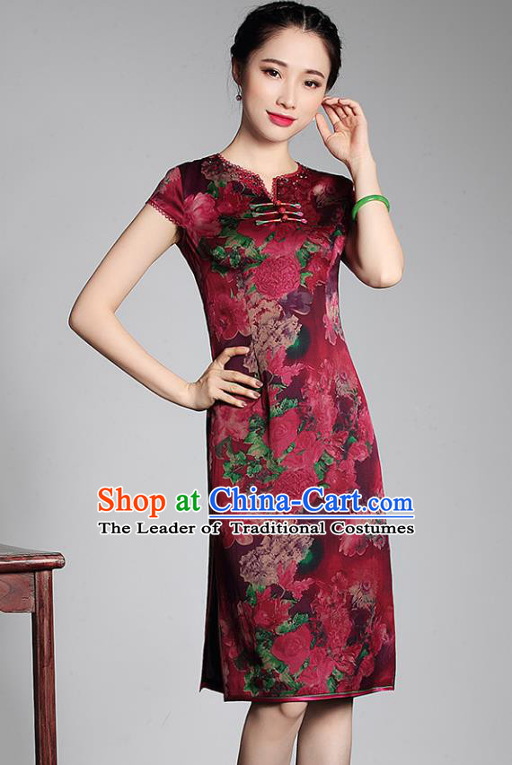 Asian Republic of China Young Lady Retro Stand Collar Red Watered Gauze Cheongsam, Traditional Chinese Qipao Tang Suit Dress for Women