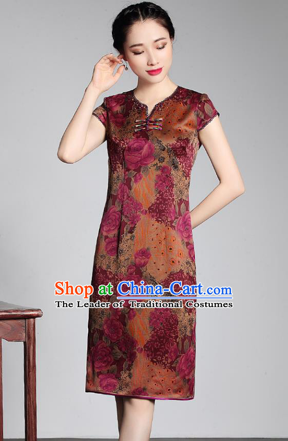 Asian Republic of China Young Lady Retro Stand Collar Orange Watered Gauze Cheongsam, Traditional Chinese Qipao Tang Suit Dress for Women