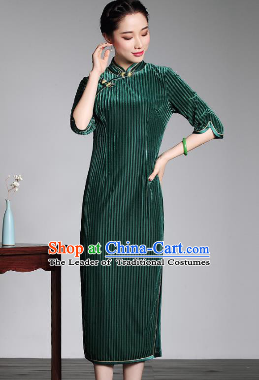 Asian Republic of China Young Lady Retro Stand Collar Green Velvet Cheongsam, Traditional Chinese Qipao Tang Suit Dress for Women