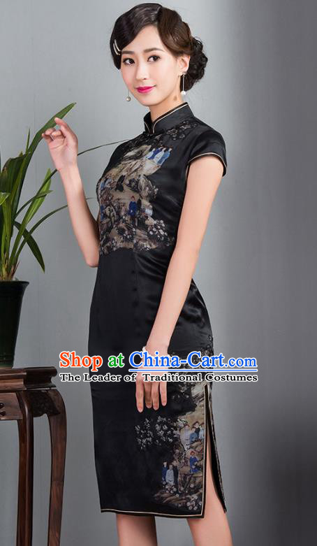 Asian Republic of China Young Lady Retro Stand Collar Black Silk Cheongsam, Traditional Chinese Qipao Tang Suit Dress for Women