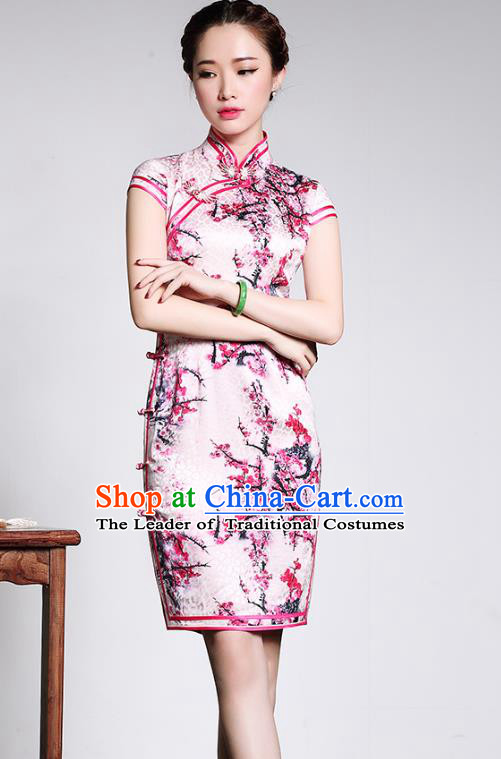 Asian Republic of China Young Lady Retro Stand Collar Pink Silk Cheongsam, Traditional Chinese Printing Peony Qipao Tang Suit Dress for Women