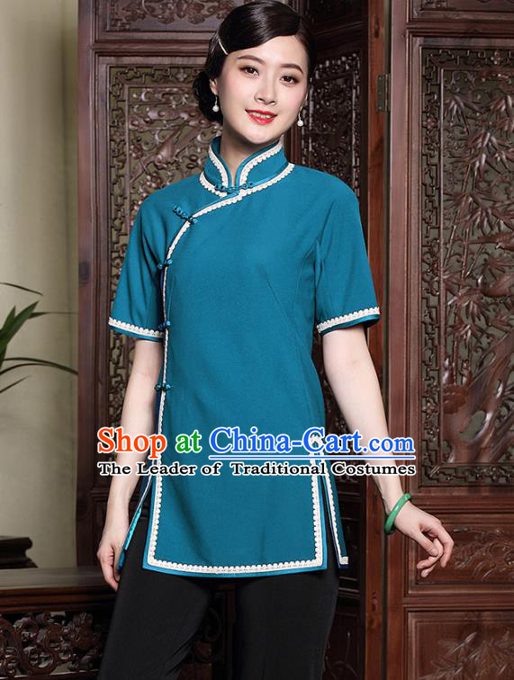 Asian Republic of China Young Lady Retro Stand Collar Blue Cheongsam Blouse, Traditional Chinese Qipao Shirts Tang Suit Upper Outer Garment for Women