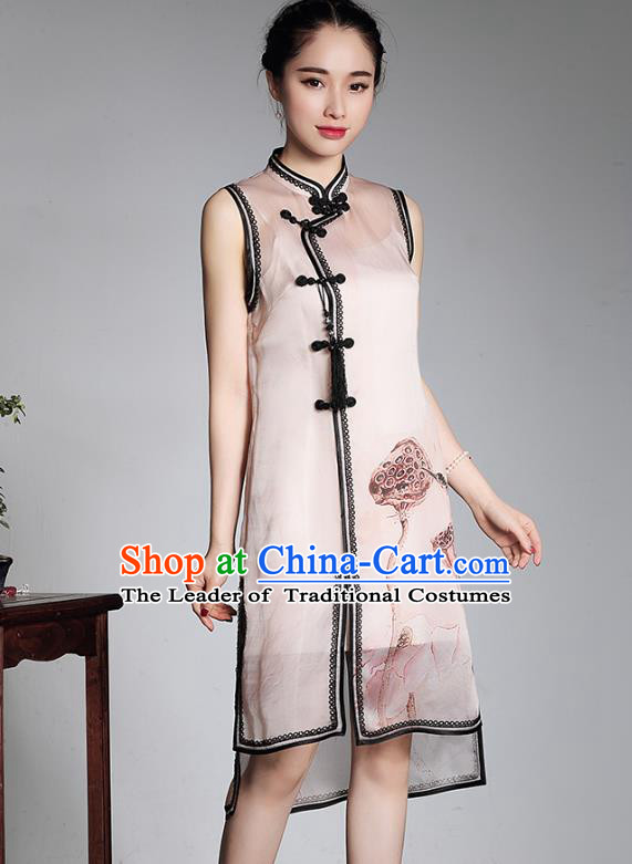 Asian Republic of China Young Lady Retro Plated Buttons Silk Cheongsam, Traditional Chinese Printing Lotus Qipao Tang Suit Dress for Women