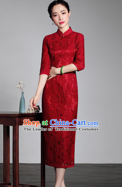 Asian Republic of China Young Lady Retro Plated Buttons Red Lace Cheongsam, Traditional Chinese Wedding Qipao Tang Suit Dress for Women