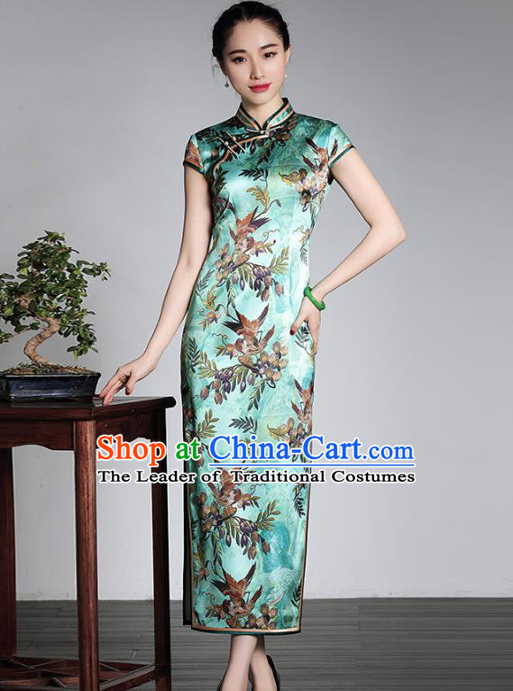Asian Republic of China Young Lady Retro Plated Buttons Green Silk Cheongsam, Traditional Chinese Printing Qipao Tang Suit Dress for Women