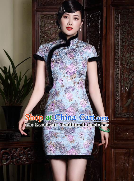 Asian Republic of China Young Lady Retro Plated Buttons Blue Silk Cheongsam, Traditional Chinese Wedding Qipao Tang Suit Dress for Women