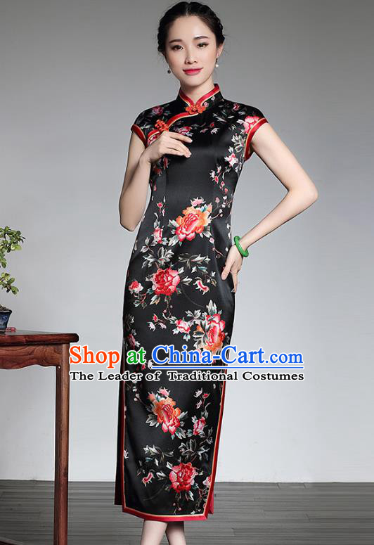 Asian Republic of China Top Grade Silk Plated Buttons Printing Peony Black Cheongsam, Traditional Chinese Tang Suit Qipao Dress for Women