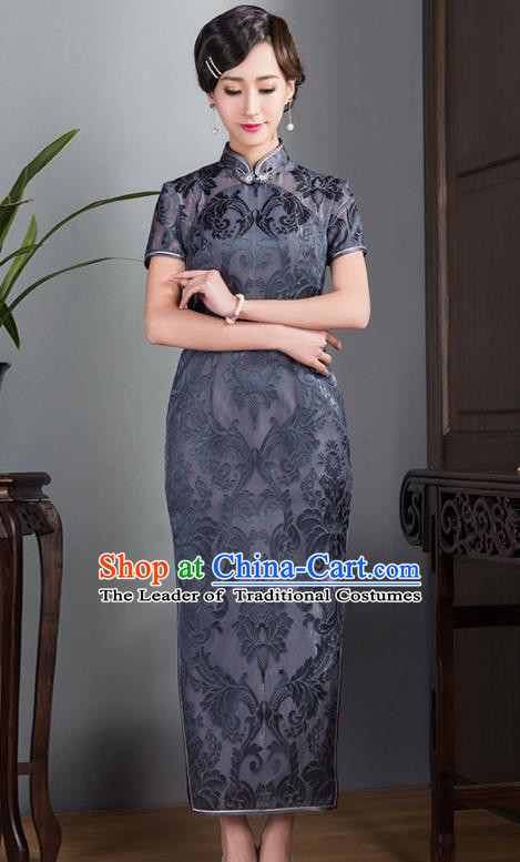 Asian Republic of China Young Lady Retro Plated Buttons Grey Lace Printing Silk Cheongsam, Traditional Chinese Wedding Qipao Tang Suit Dress for Women