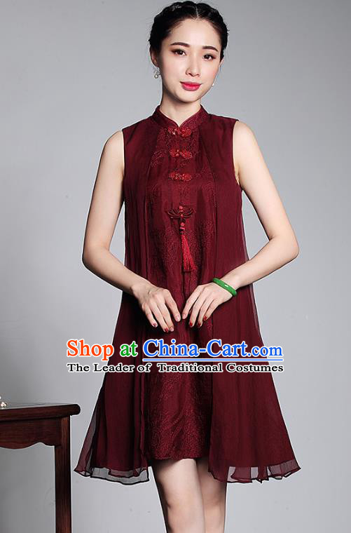Asian Republic of China Top Grade Plated Buttons Embroidered Cheongsam, Traditional Chinese Tang Suit Qipao Dress for Women