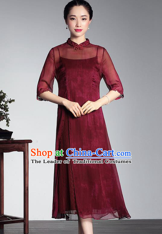 Asian Republic of China Top Grade Plated Buttons Dark Red Silk Cheongsam, Traditional Chinese Tang Suit Qipao Dress for Women
