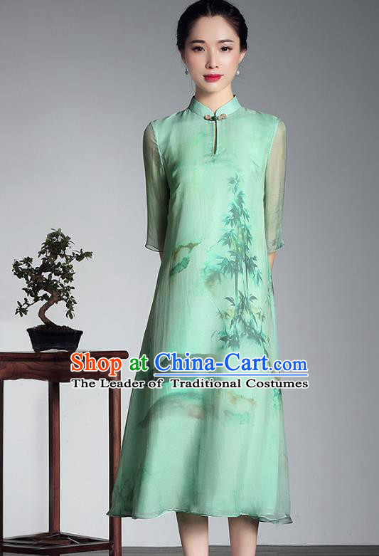 Asian Republic of China Top Grade Plated Buttons Light Green Silk Printing Cheongsam, Traditional Chinese Tang Suit Qipao Dress for Women
