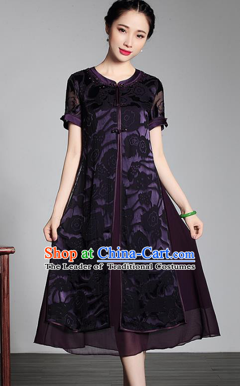 Asian Republic of China Young Lady Retro Plated Buttons Purple Lace Silk Cheongsam, Traditional Chinese Wedding Qipao Tang Suit Dress for Women