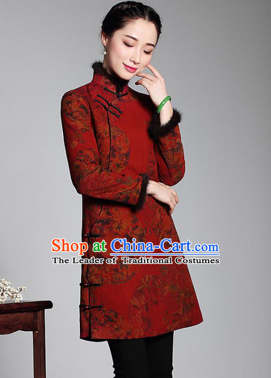 Asian Republic of China Top Grade Plated Buttons Watered Gauze Red Cheongsam Coat, Traditional Chinese Tang Suit Qipao Upper Outer Garment for Women