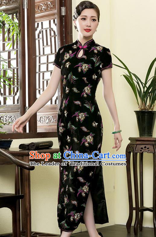 Asian Republic of China Top Grade Plated Buttons Black Velvet Printing Cheongsam, Traditional Chinese Tang Suit Qipao Dress for Women