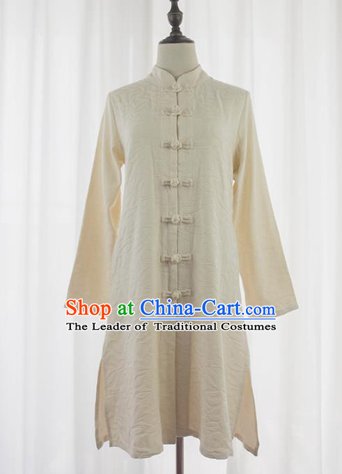 Asian China White Linen Plated Buttons Shirt, Traditional Chinese Tang Suit Coats for Women