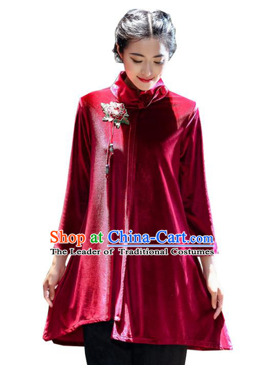 Asian China Embroidered Red Velvet Cheongsam Blouse, Traditional Chinese Tang Suit Hanfu Shirts for Women
