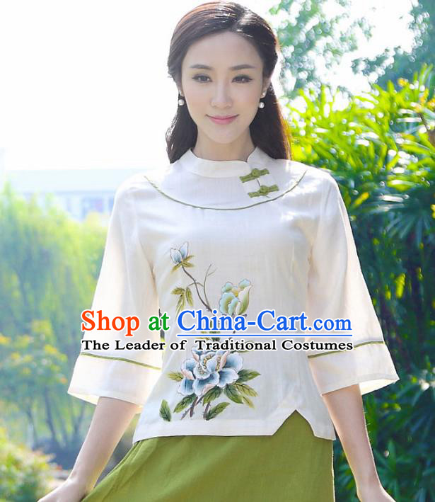 Asian China Top Grade Linen Hand Painting Cheongsam Blouse, Traditional Chinese Tang Suit Hanfu Plated Buttons Shirts for Women