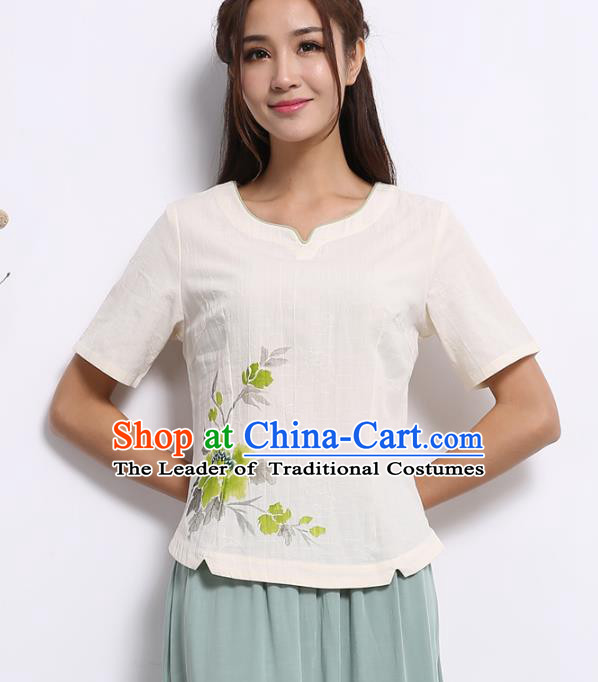 Asian China Hand Painting White Linen Cheongsam Blouse, Traditional Chinese Tang Suit Hanfu Plated Button Shirts for Women