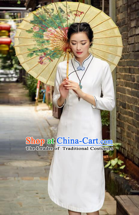 Asian China Hand Painting White Linen Cheongsam Dress, Traditional Chinese Tang Suit Hanfu Plated Button Qipao for Women
