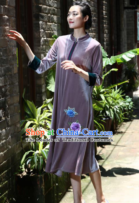 Asian China Hand Painting Purple Cheongsam Dress, Traditional Chinese Tang Suit Hanfu Plated Button Embroidered Qipao for Women