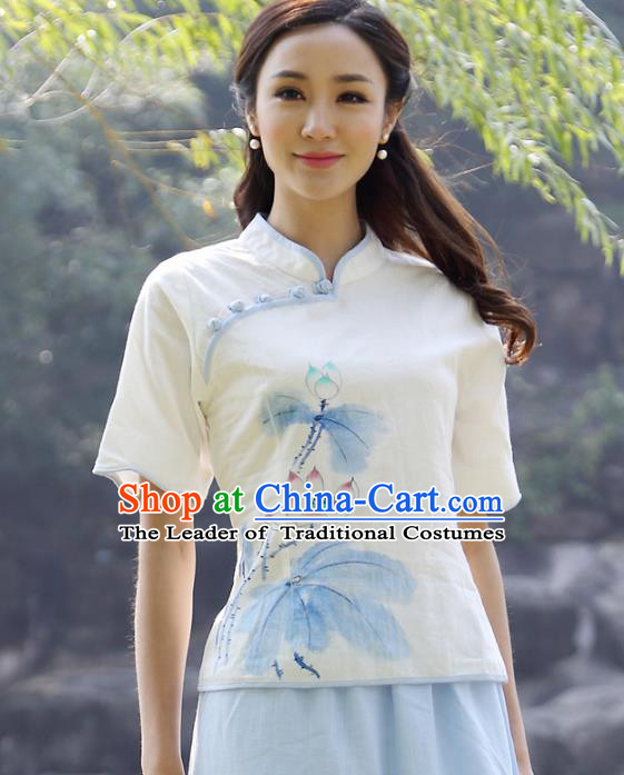 Asian China Top Grade Linen Hand Painting White Cheongsam Blouse, Traditional Chinese Tang Suit Hanfu Plated Button Qipao Shirts for Women
