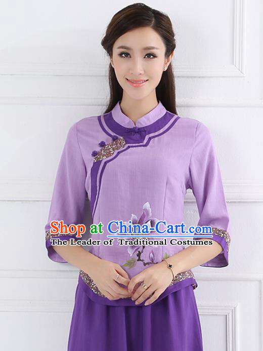Asian China Top Grade Purple Linen Cheongsam Blouse, Traditional Chinese Tang Suit Hanfu Plated Button Qipao Shirts for Women