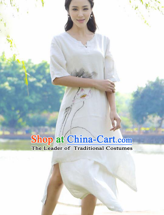 Asian China Top Grade Linen Hand Painting White Cheongsam, Traditional Chinese Tang Suit Hanfu Plated Button Qipao for Women