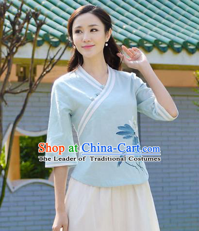 Asian China Top Grade Blue Linen Hand Painting Lotus Cheongsam Blouse, Traditional Chinese Tang Suit Hanfu Plated Button Qipao Shirts for Women