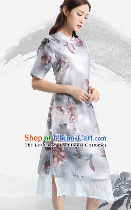 Asian China Top Grade Silk Printing Cheongsam Dress, Traditional Chinese Tang Suit Hanfu Plated Button Qipao for Women