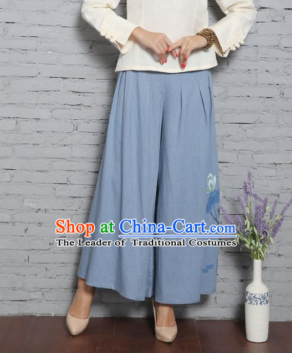 Traditional Chinese National Costume Loose Pants, Elegant Hanfu Blue Linen Wide leg Pants, China Tang Suit Ultra-wide-leg Trousers for Women